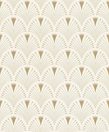 Modern Art Art Deco Fan Wallpaper Gold/Pink Rasch 433227