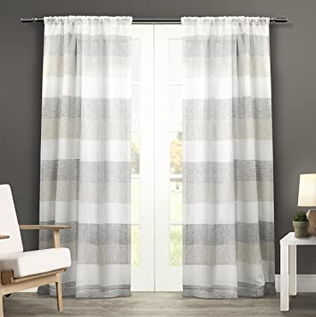 exclusive home curtains bern rod pocket window curtain panel pair dove grey 50x84