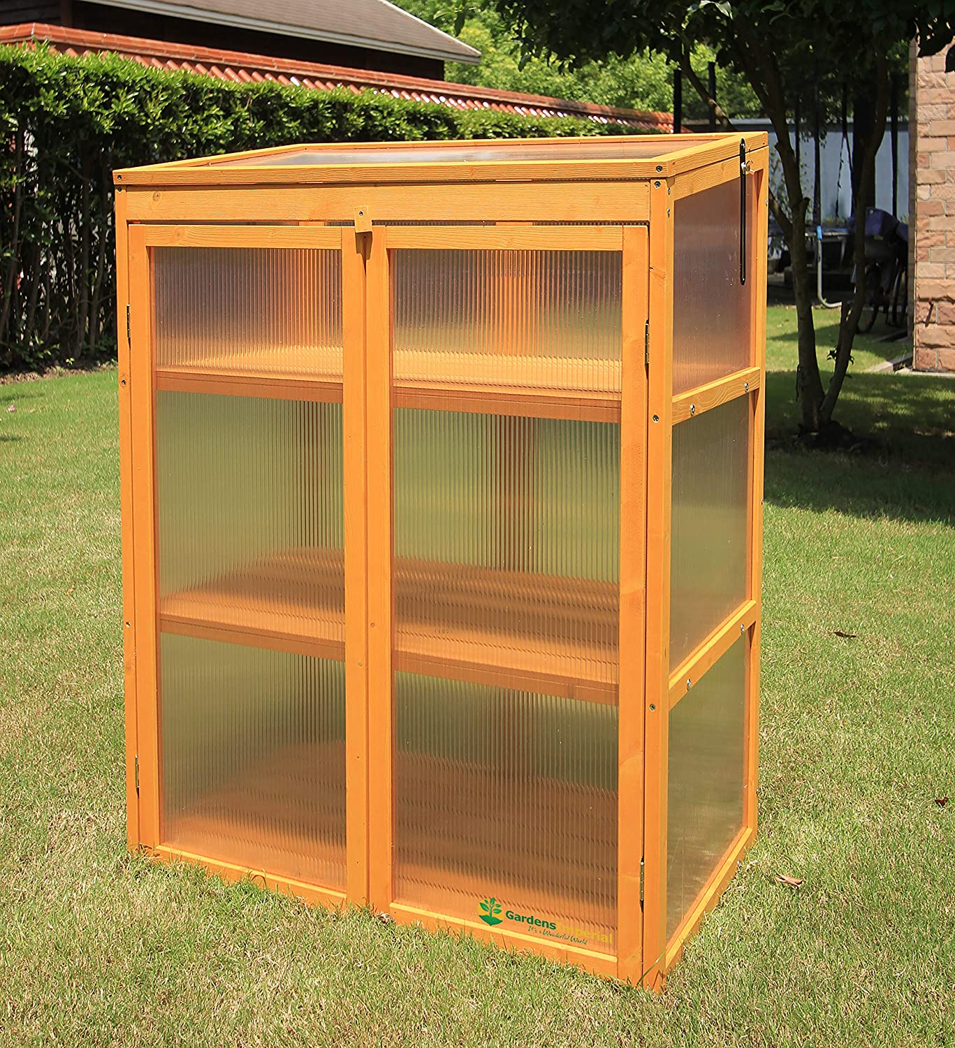 Gardens Imperial® Buckingham 3-tier Wooden Mini Greenhouse with Polycarbonate Panels 80 (w) x 48 (d) x 106 (h) cm