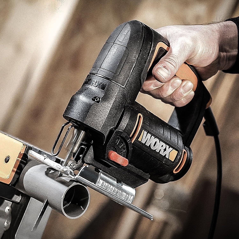 Acero 6mm 550 W Capacidad Madera 65mm Aluminio 12mm 230 V Worx WX477.1 Sierra de Calar Pendular Incluye 3 Cuchillas de Corte y un malet/ín