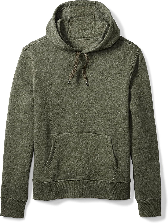 Amazon Essentials Men's Hooded Long-Sleeve Fleece Sweatshirt, Olive Heather, Small