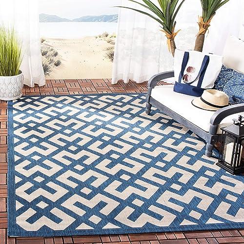 Safavieh Courtyard Collection CY6915-268 Indoor Outdoor Area Rug, 9 x 12 , Navy Beige