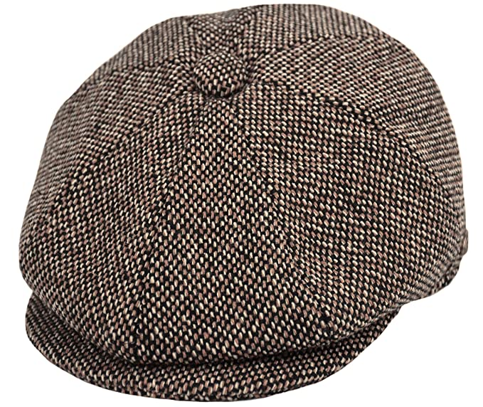 4f88b40b Men's Wool Newsboy Cap, Herringbone Driving Cabbie Tweed Applejack Golf Hat  (2124-Brown