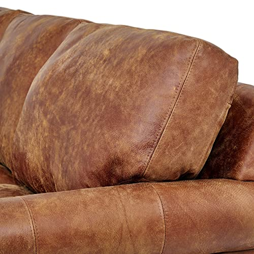 Stone Beam Charles Classic Oversized Leather Sectional Sofa Couch, 92 W, Saddle Brown