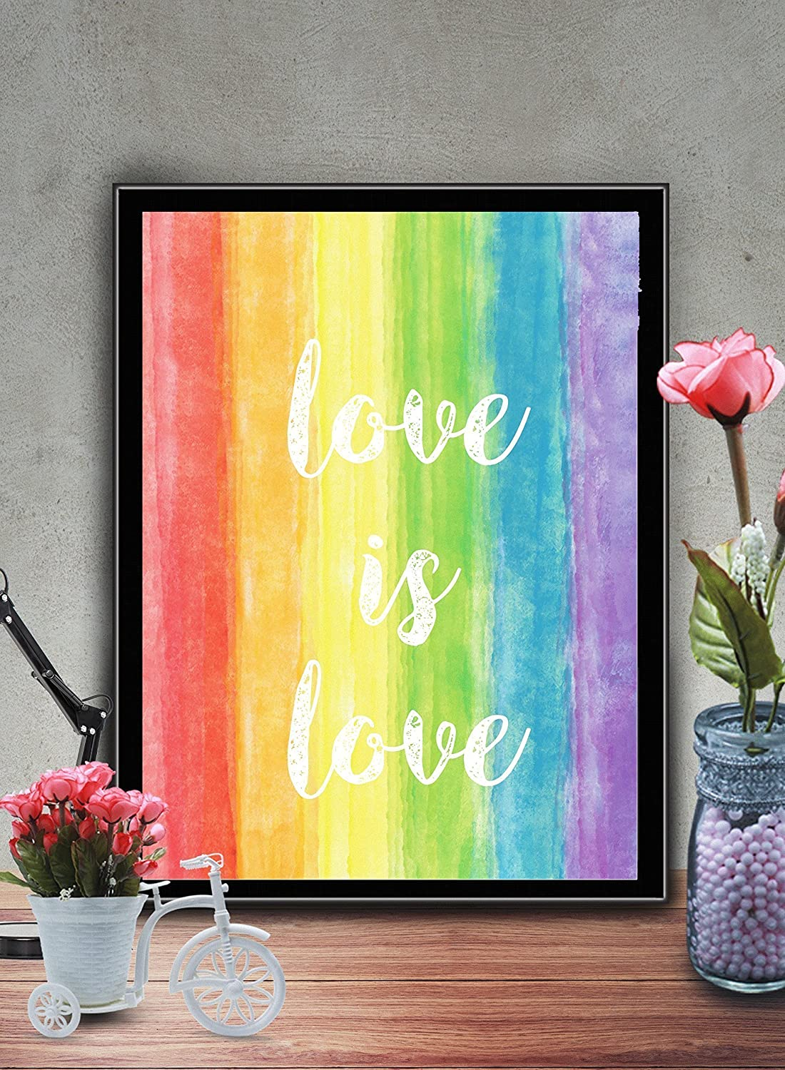 Rainbow Watercolor Pride Love 8x10 inch Print Home Contemporary Art Abstract Prints Wall Art for Home Decor Wall Decorations For Living Room Bedroom Office Ready-to-Frame