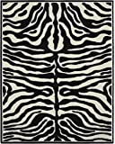 "Garland Rug Safari Area Rug, 8 x 10"", Black/Ivory"