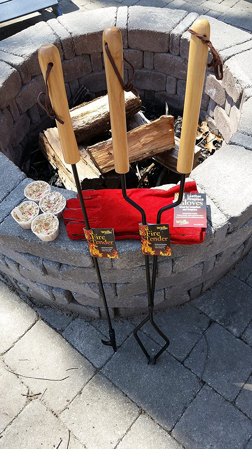 EXCURSIONS Journey To Health Fireplace Fire Pit Campfire Tool Gift Set Firetender Tongs Poker Gloves and Firestarters