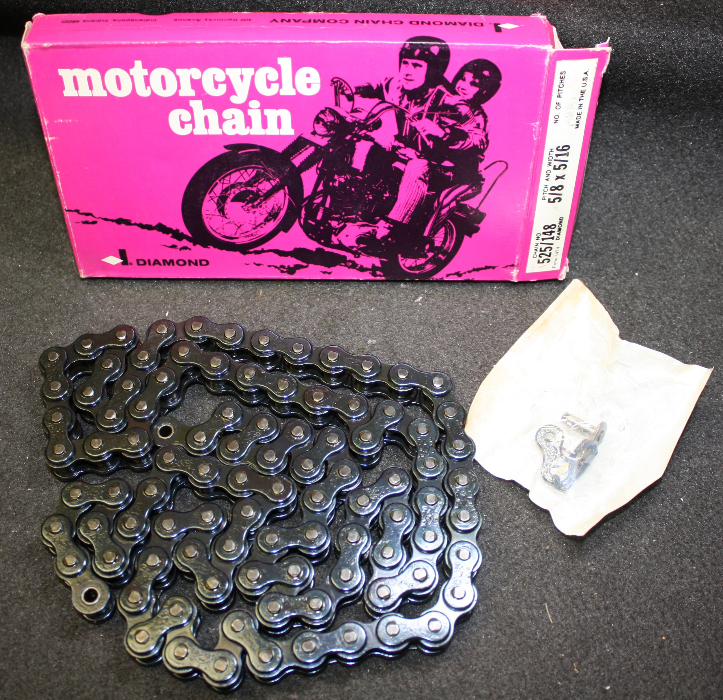 Diamond PowerSports Diamond USA #525 Motorcycle Roller Chain Replacement Harley Davidson 106 Links by Diamond PowerSports