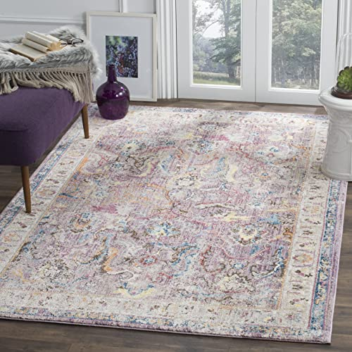 Safavieh Bristol Collection BTL357P Lavender and Light Grey Oriental Distressed Bohemian Area Rug 9' x 12'