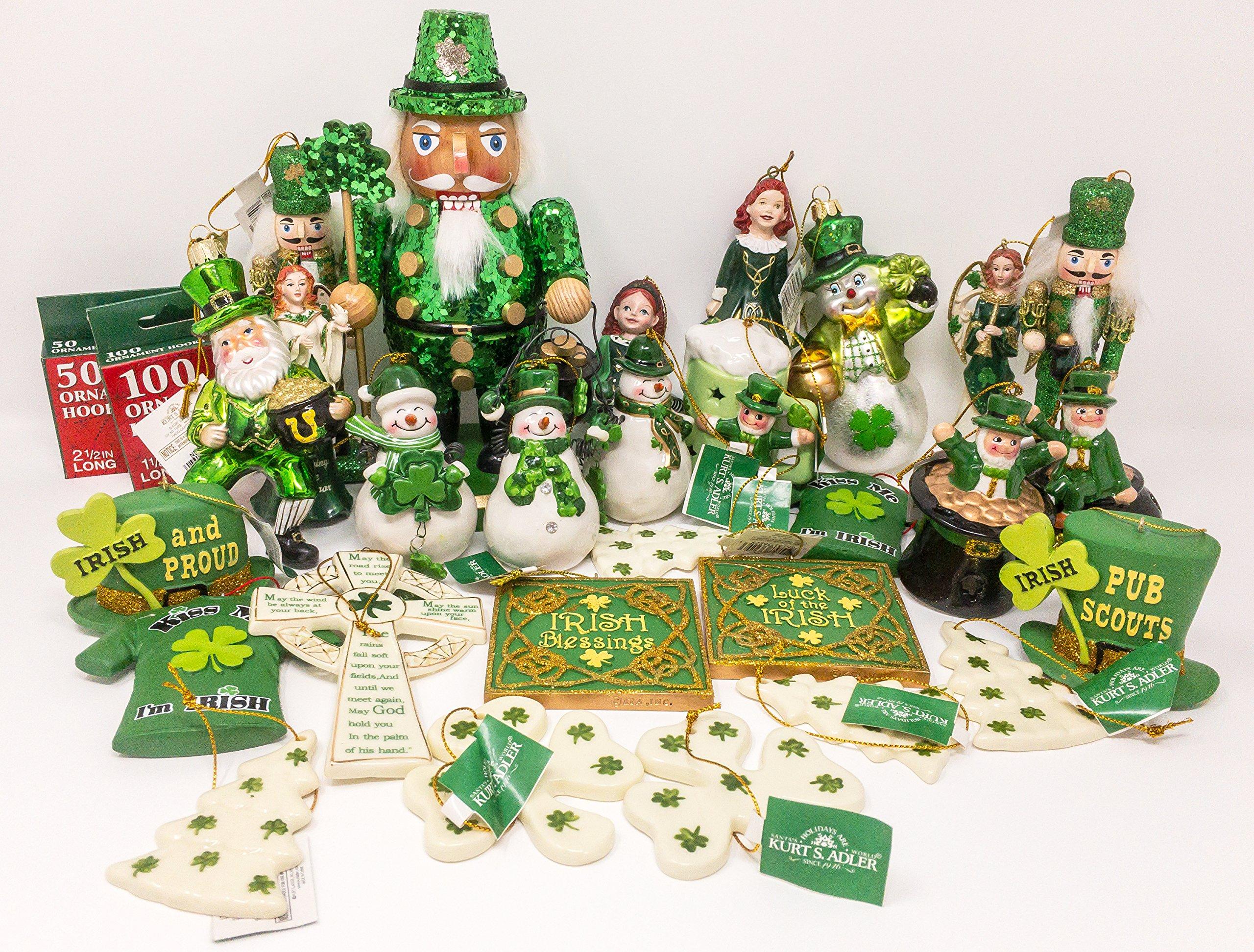 JZ Bundles Large Set - Irish - Kurt Adler - 30-Piece Bundle - A Bundle of Christmas Ornaments Great Gift