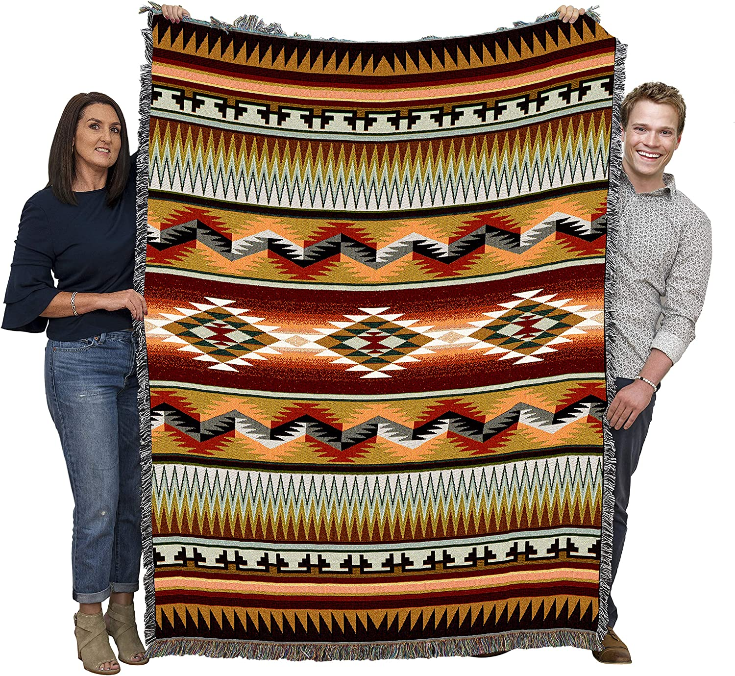 B001IY0DZY Pure Country Weavers Large Southwest Blanket 100% Cotton Woven Large Soft Comforting, Iconic Fringe Design, Native American Inspired Pattern, Tribal Camp Throw Made in USA (72x54) A1H2eJPfOnL