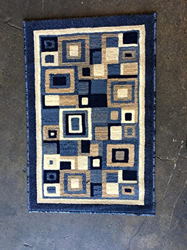Modern Area Rug Doorway Mat Blue Design 125 2 feet X 3 feet