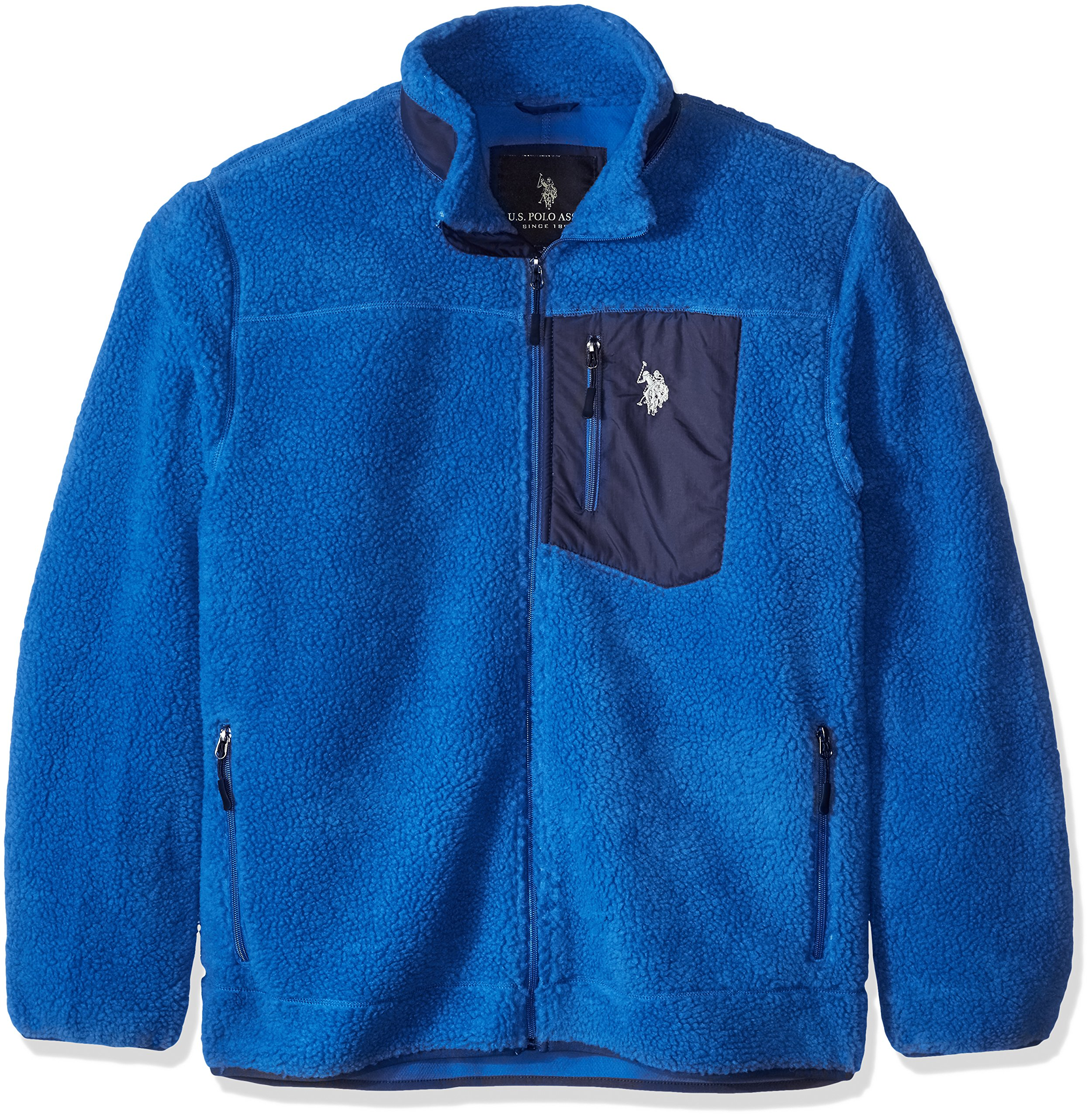 U.S. Polo Assn. Men's Faux Sherpa Jacket, China Blue, X-Large by U.S. Polo Assn.