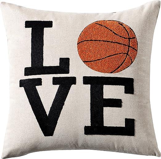 Funda de almohada decorativa de baloncesto con diseño de bordado ...