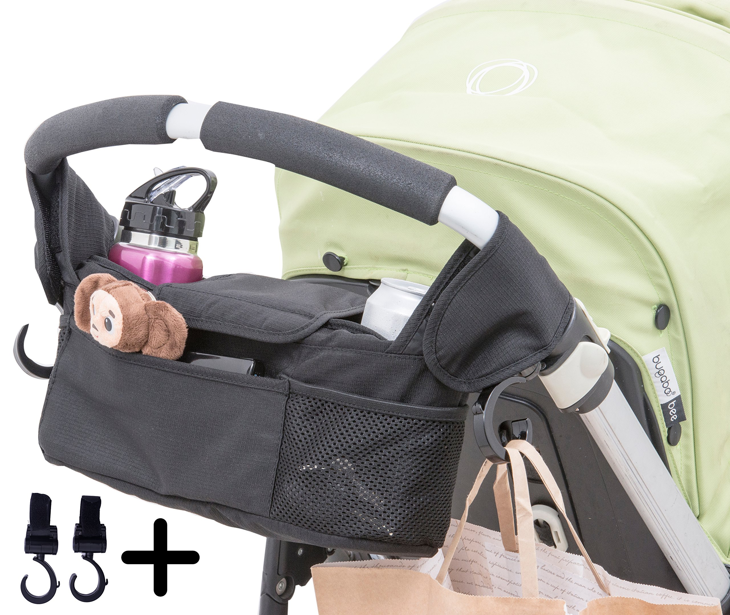 Quality Choices Universal Baby Stroller Organizer with Cup Holder and Two Hooks