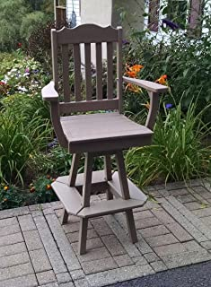 product image for Poly Lumber Wood Royal Swivel Bar Chair with Arms - Amish Made USA -Multiple Colors