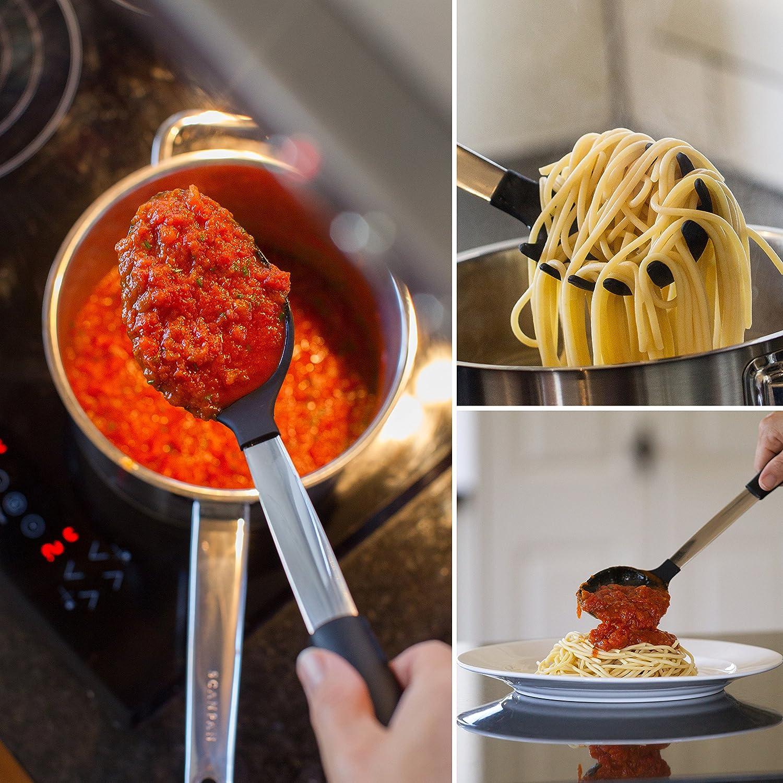 Amazon.com: Bizanzzio Stainless Steel & Silicone Kitchen Utensil Set ...