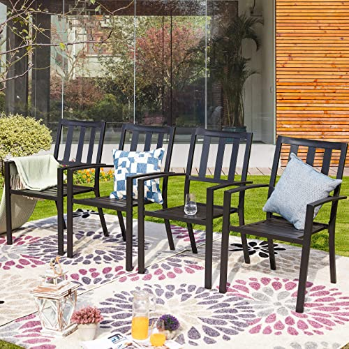 PatioFestival Outdoor Dining Chairs Patio Dining Chair Stackable Metal Steel Frame Slat Furniture Bistro Chair Set of 4 for Garden Lawn Backyard Balcony, Black Chairs
