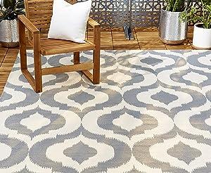 Home Dynamix 14219L-451 Trina Turk Rio Vivianna Moroccan Indoor/Outdoor Area Rug 2'x3', Ikat Gray/Crisp White
