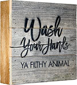 Wash Your Hands Ya Filthy Animal Box Signs for Home Decor, Farmhouse Cute Wooden Signs with Quotes, Funny Knick Knacks Home Decor Shelf Items, Wooden Box Signs with Quotes, Rustic Plaques with Sayings