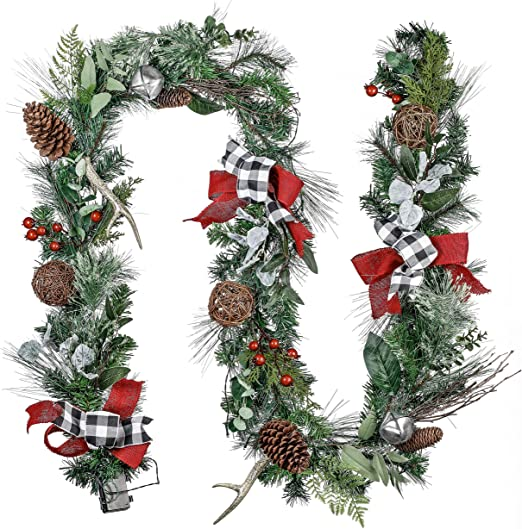 Christmas Garland with Lights,9 Ft 50 LED Xmas Garland Battery ...