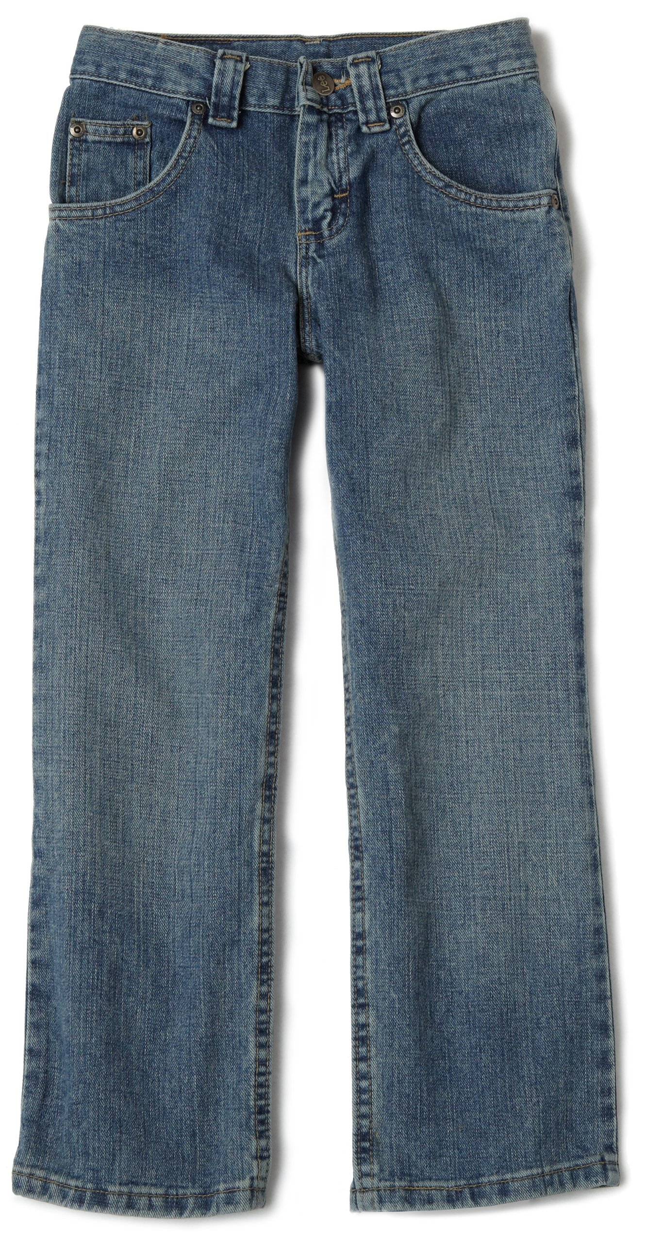 LEE Big Boys' Relaxed Fit Straight Leg Jeans,Worn Handsand,18 Slim
