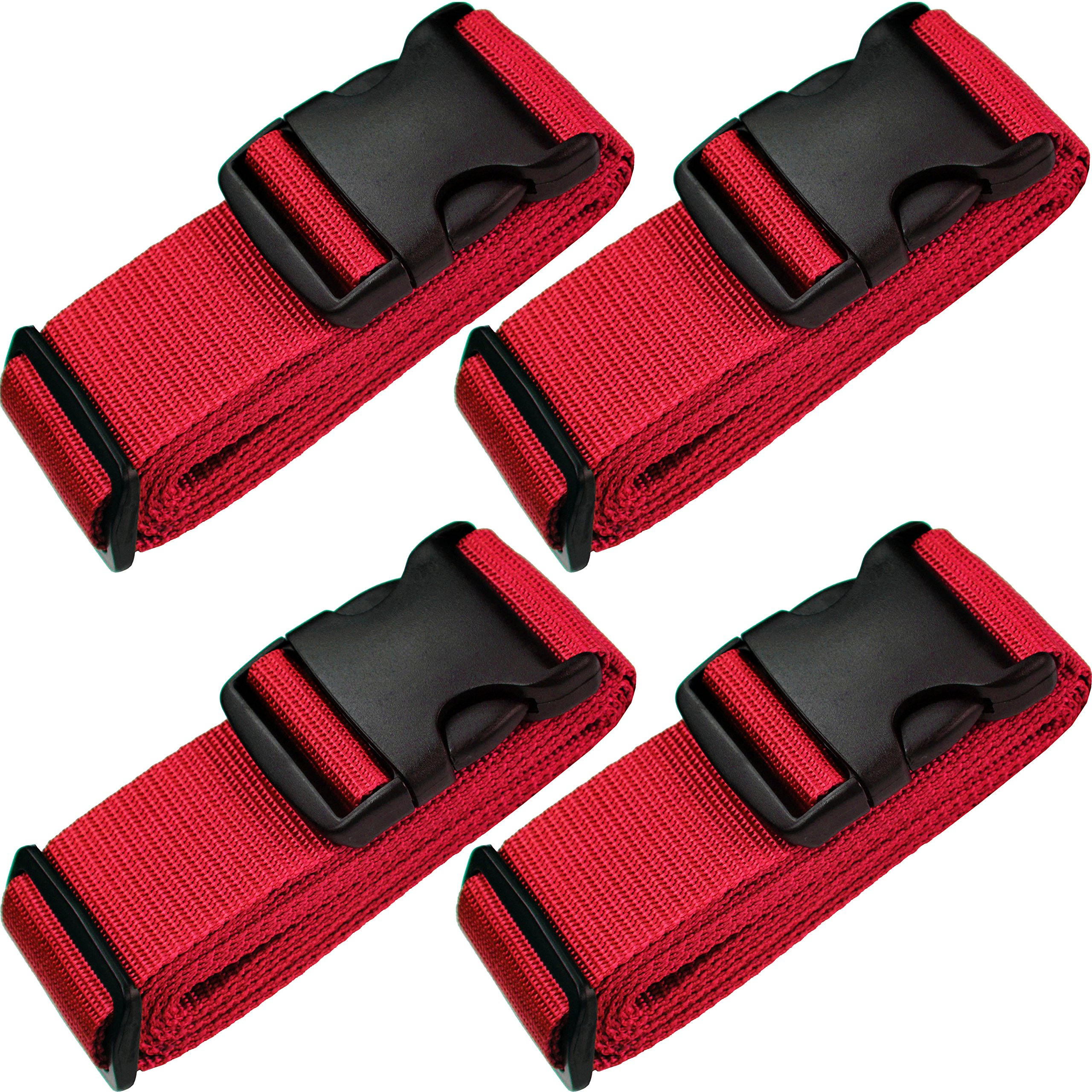 TRANVERS Luggage Strap Belt For Suitcases Baggage Belt Heavy Duty Adjustable 4-Pack Red