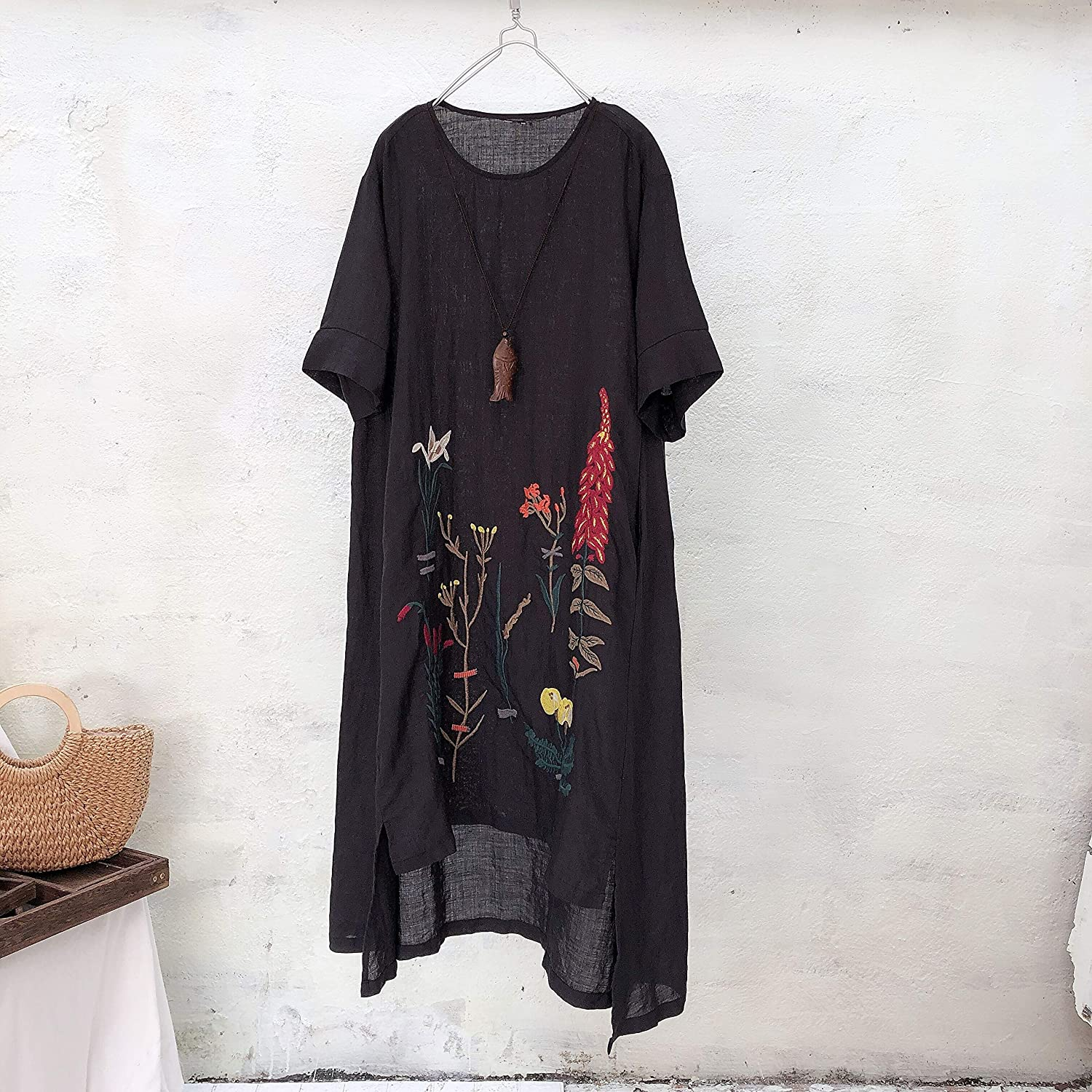 f858692e263 Minibee Women s Embroidered Linen Dress Summer A-Line Sundress Hi Low Tunic  Clothing at Amazon Women s Clothing store