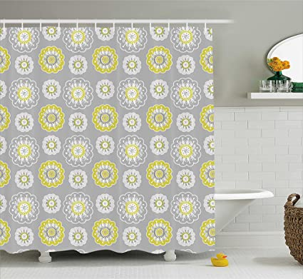 Ambesonne Grey And Yellow Shower Curtain Pale Backdrop With Ethnic Inspired Flowers Ivy Image