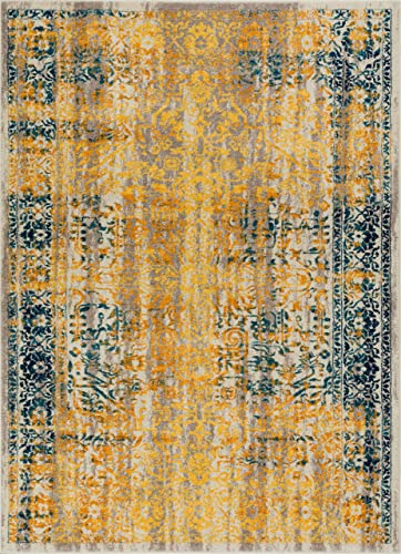 Alhambra Modern Vintage Bright Floral Traditional Medallion Yellow Gold Blue 5×7 5 3 x 7 3 Area Rug