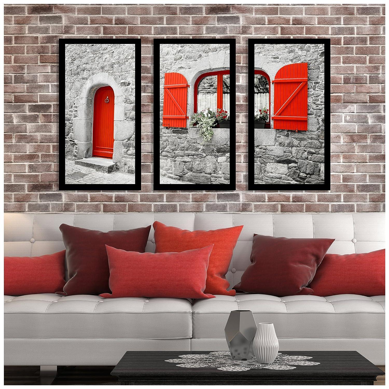 Picture Perfect InternationalThe Red Door Framed Plexiglass Art Set of 3 Wall-Decor 13.5 W x 25.5 H x 1 D
