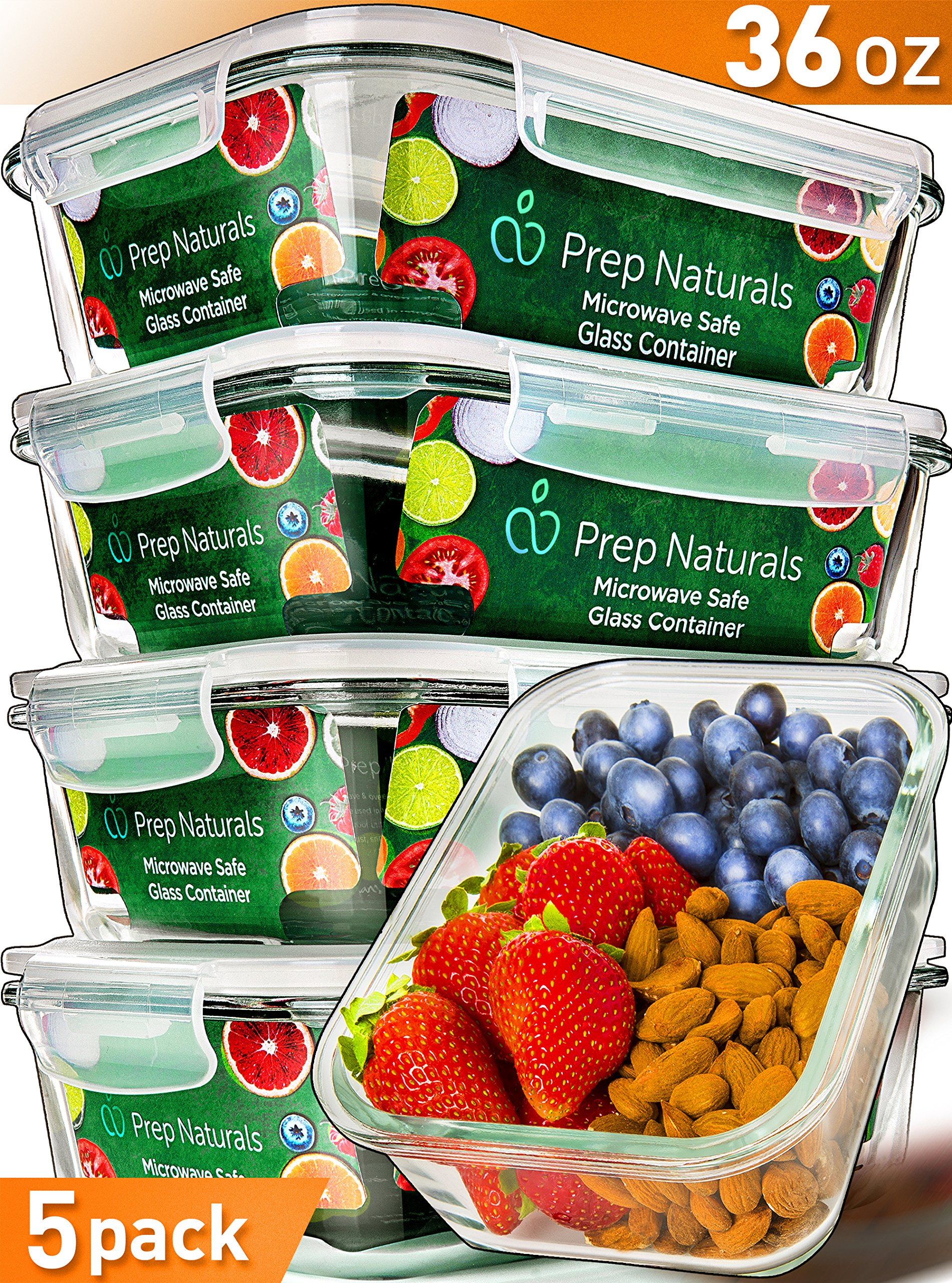[5-Pack,36oz] Glass Meal Prep Containers Glass - Food Storage Containers with Lids - Food Containers Food Prep Containers Glass Storage Containers with lids Glass Containers Glass Lunch Containers by Prep Naturals