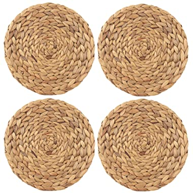 wellhouse Natural Handmade Straw Woven Placemat Wooden Round Braided Mat Heat Resistant Hot Insulation Anti-Skidding Pad Water Hyacinth Placemats (14.5Inch, Grass mat-4 Pack)