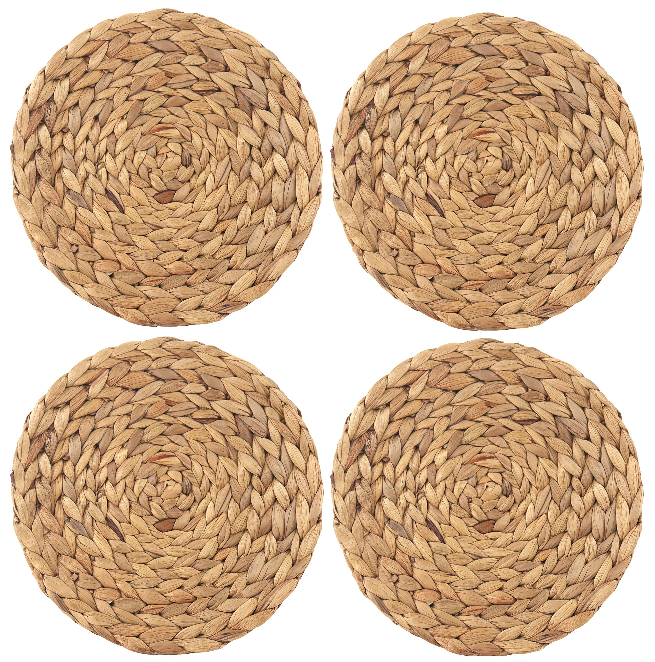 wellhouse Natural Handmade Straw Woven Placemat Wooden Round Braided Mat Heat Resistant Hot Insulation Anti-Skidding Pad Water Hyacinth Placemats (11.8Inch, Grass mat-4 Pack) - Size:Diameter about 5.7inch(14.5cm)7.3inch (18.5cm)9.84Inch(25cm),11.8Inch(30cm),14.5Inch(37cm). Cleaning method:Wipe gently with a damp cloth and store in a dry area. Natural Design:Provides a neutral backdrop that looks good on most table tops. - placemats, kitchen-dining-room-table-linens, kitchen-dining-room - A1H5Ax2cJ2L -