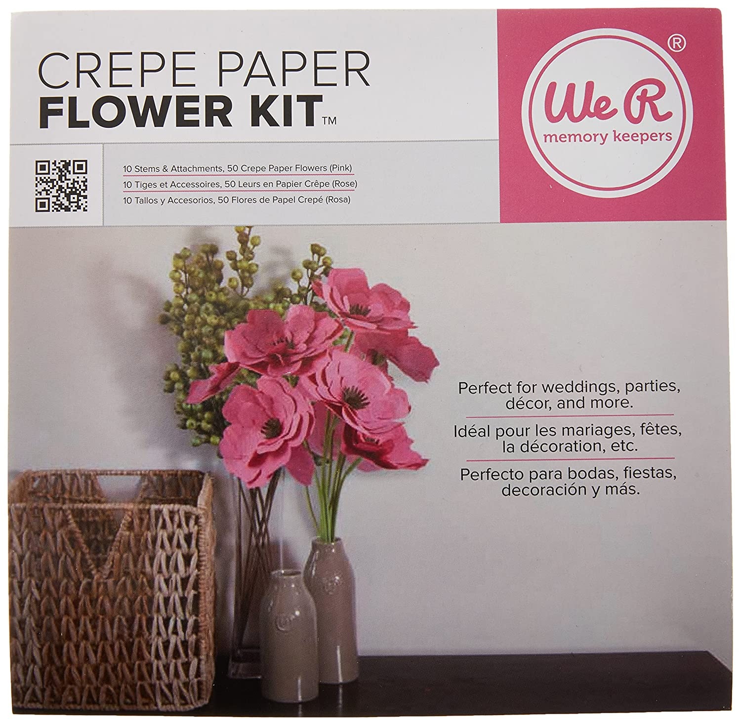 Amazon.com: We R Memory Keepers Crepe Paper Flowers Pink