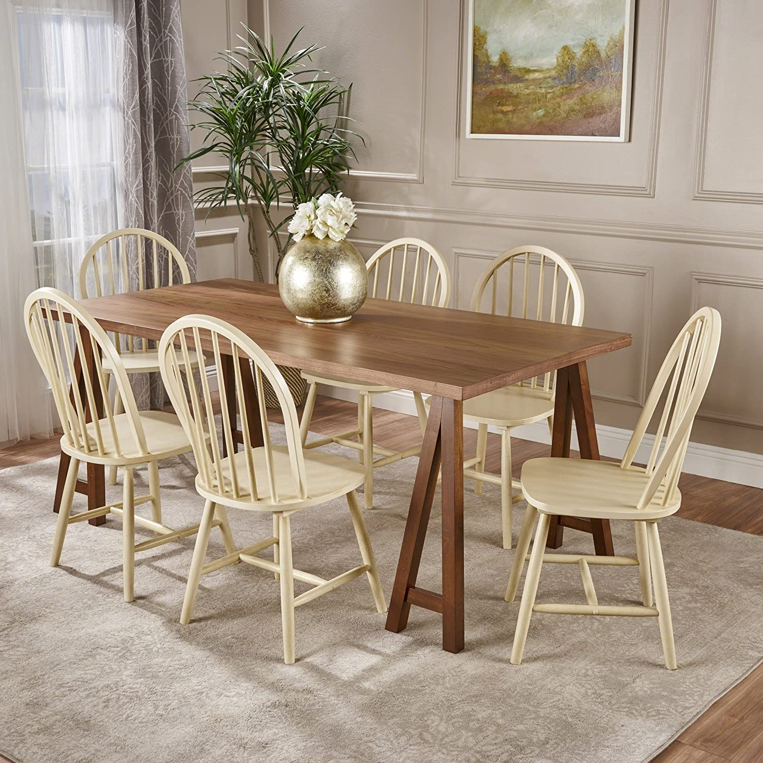 Amazon com amy farmhouse cottage 7 piece natural walnut faux wood dining set with antique white finished rubberwood chairs table chair sets