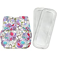 Bumberry Reusable Diaper Cover and 2 Wet Free Inserts (3-36 Months) (Violet Print)