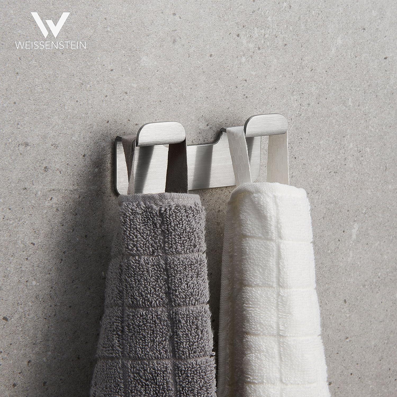 2 ganci 3 x 3,3 x 4,9 cm Appendini porta asciugamano in acciaio inox neri WEISSENSTEIN Set 2 ganci bagno adesivi da parete