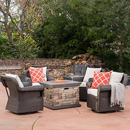 GDF Studio Augusta Patio Furniture 5 Piece Outdoor Wicker Rocking Arm Chair and Propane Gas Fire Pit Table Set