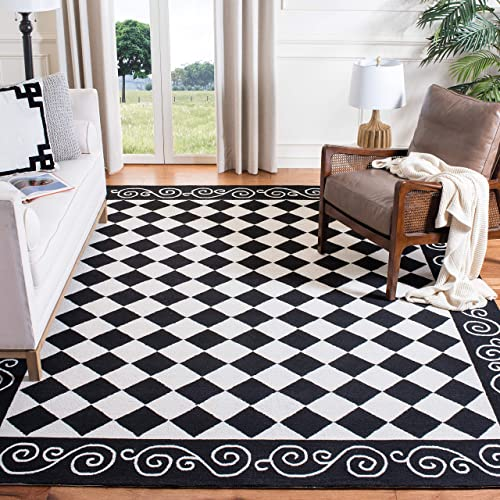 Safavieh Chelsea Collection HK711A Hand-Hooked Black and Ivory Premium Wool Area Rug 6 x 9
