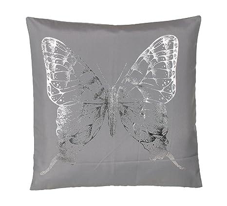 BRAND sseller moderna microfibra Cojín Almohada Cojín – Cojín (Peluche en plata de serigrafiado mariposa – Varios Diseños, microfibra, Grau/Silber ...