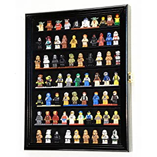 sfDisplay.com,LLC. 70 Lego Men/Legos/Mini Figures Minifigures/Display Case Cabinet Lockable (Black Finish)