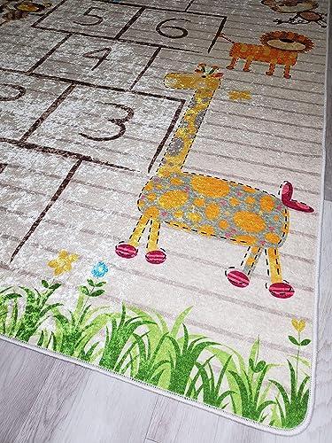 Ladole Rugs Distresed Kids Playroom Room Decor Little Girl Boy Bedroom Nursery 4976581120 Flatweave Numbers Area Rug 7'10″ x 10'5″ - a good cheap living room rug