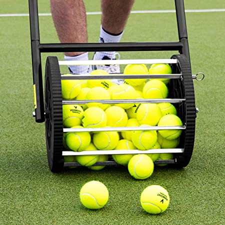 Vermont Tennis Ball Roller Mower & Hopper - 85 Ball Capacity Pickup Hopper with Lockable Lid