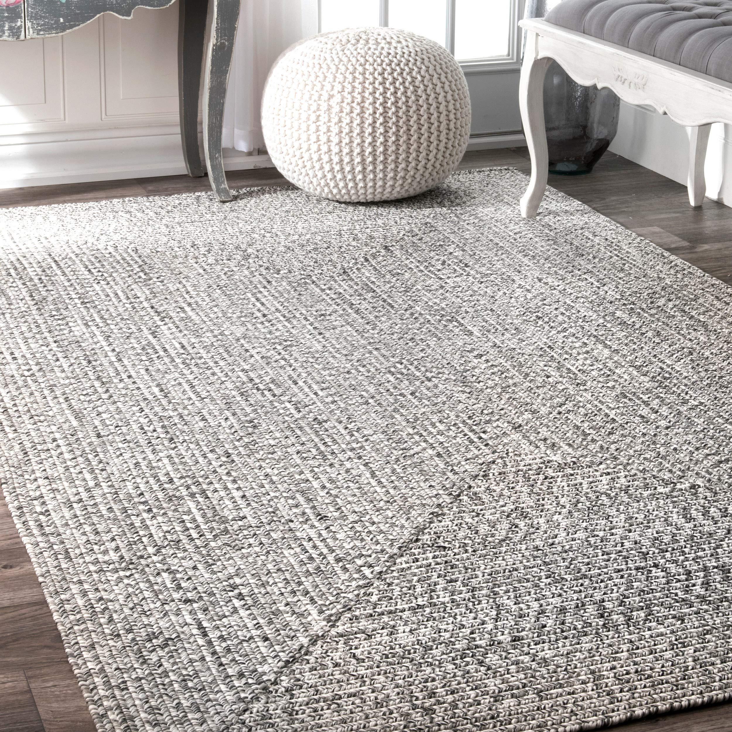 nuLOOM Lefebvre Braided Indoor/Outdoor Accent Rug, 2' x 3', Light Grey