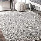 nuLOOM Lefebvre Braided Indoor/Outdoor Rug, 2' x 3', Light Grey