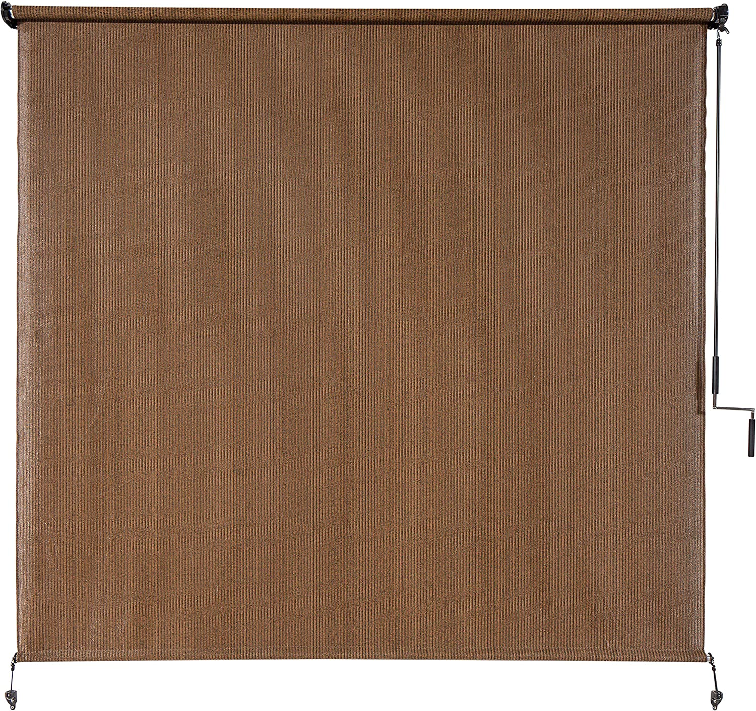 Coolaroo Exterior Roller Shade, Cordless Roller Shade with 90% UV Protection, No Valance, (4' W X 6' L), Mocha