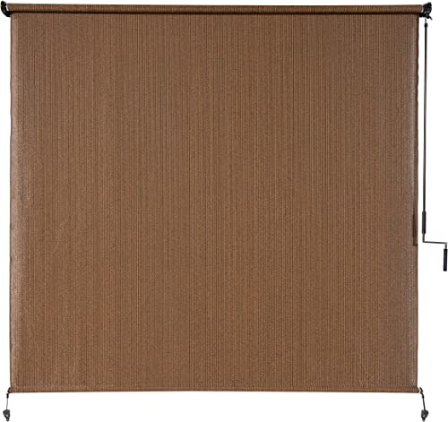 Coolaroo Exterior Roller Shade, Cordless Roller Shade with 90 UV Protection, No Valance, 4 W X 6 L , Mocha