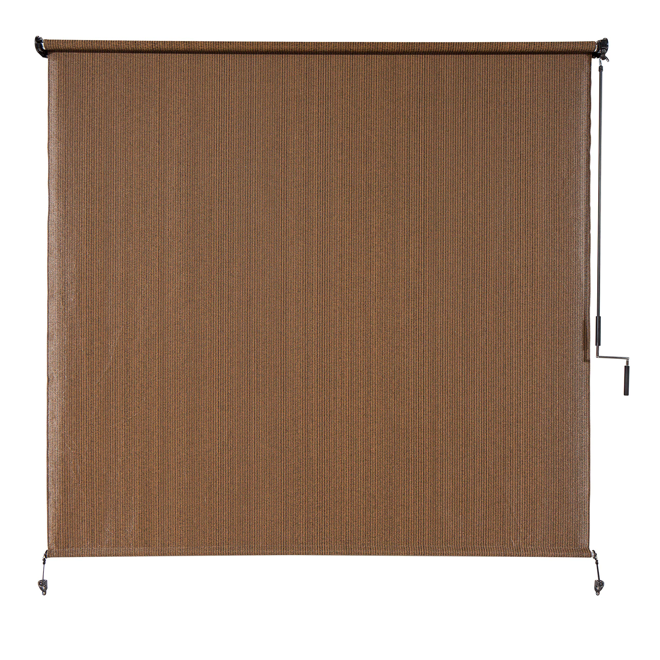Coolaroo Exterior Roller Shade, Cordless Roller Shade with 90% UV Protection, No Valance, (4' W X 6' L), Mocha by Coolaroo