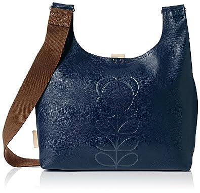 Orla Kiely Women s Embossed Flower Leather Midi Sling Bag Shoulder Bag Blue  (Indigo) 7c9567a0b0